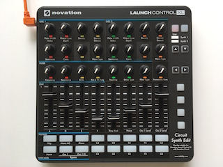 "Novation Launch Control XL Mk2 with printed overlay ""Circuit Synth Edit"""